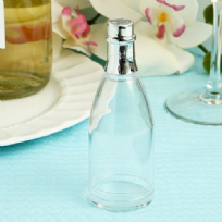 Clear Plastic Silver Topped Champagne Bottle Sweet Container